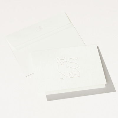 Bull Elegant Embossed Folded Note Card - 25 Pack