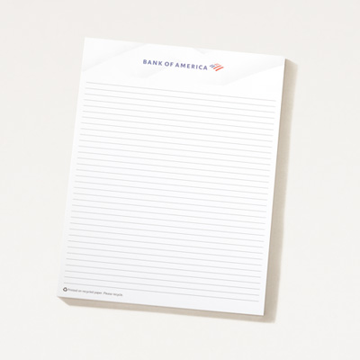 Bank of America 8.5 x 11 Notepad -  5 Pack