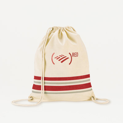 (RED) Cotton Drawstring Backpack