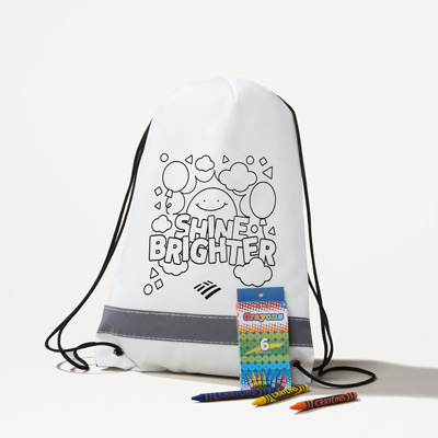 Flagscape Reflective Drawstring Bag with Crayons