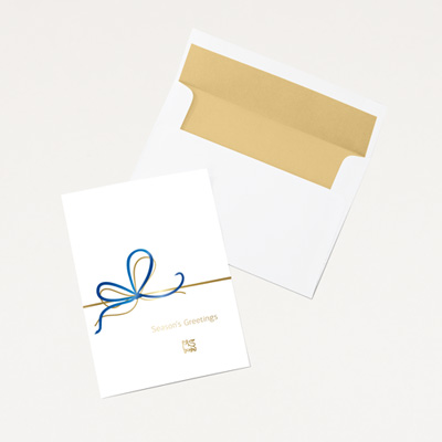 Bull Ribbon Holiday Card - 25 Pack