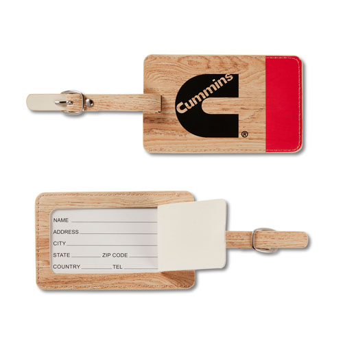 Cummins Wood-Grain Luggage Tag with Color Splash