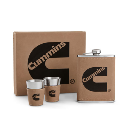 Leatherette Flask and Shot Gift Set