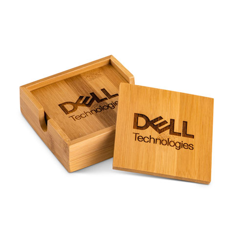 Dell Technologies Bamboo Coaster Set