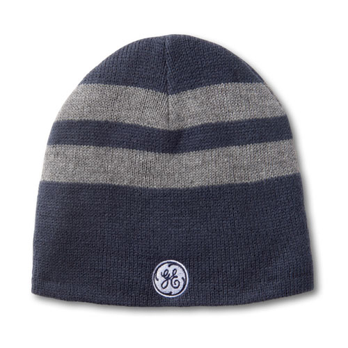 GE Fleece Lined Striped Beanie Cap Navy