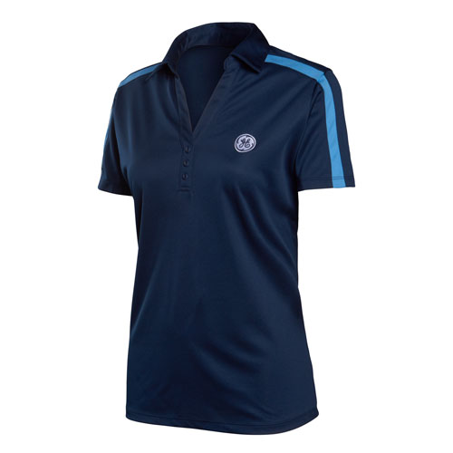 GE Womens Performance Colorblock Stripe Polo Navy