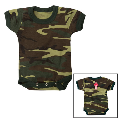 Infant Woodland Camo One-Piece with Red Logo