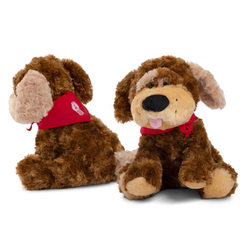 Brown Luke Plush Puppy with Red Bandanna
