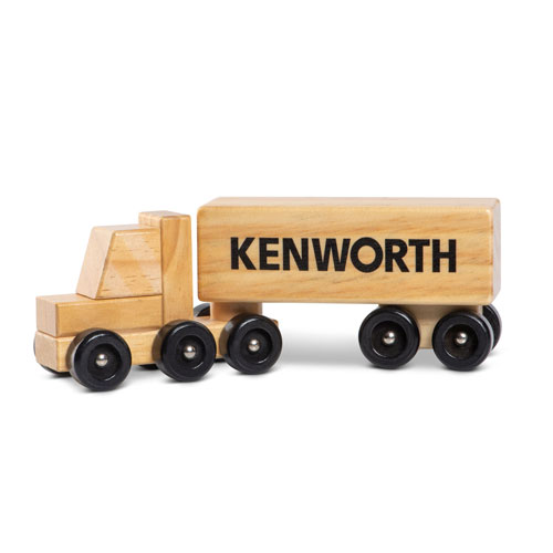 Brown Wooden Semi Toy Truck with Rolling Wheels