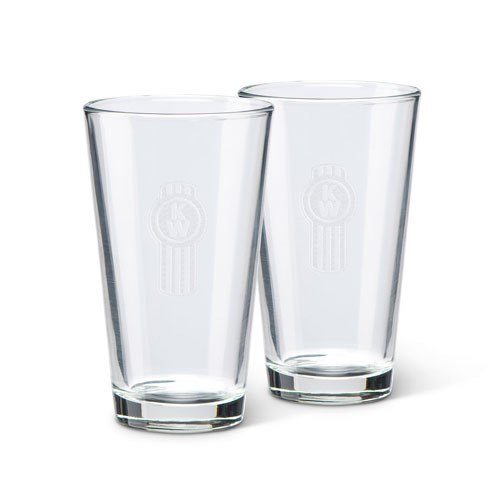 Clear 16 oz. Glass with Etched Kenworth Bug Logo