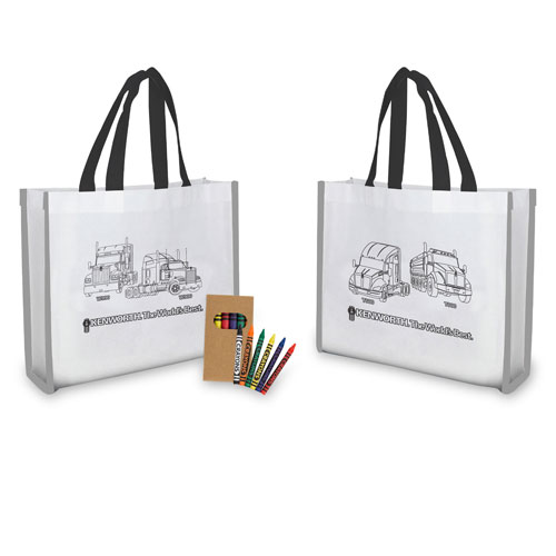 "Reflective ""Color Me"" Tote with Crayons"