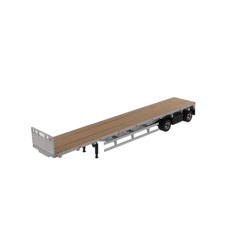 1:50 Scale 53 Ft Flat Bed Trailer - Silver