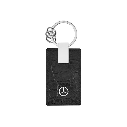 Crocodile Embossed Leather Key Ring