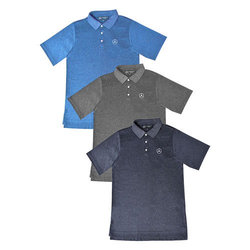 Men's Heather Polo With Sun Protection - NAVY