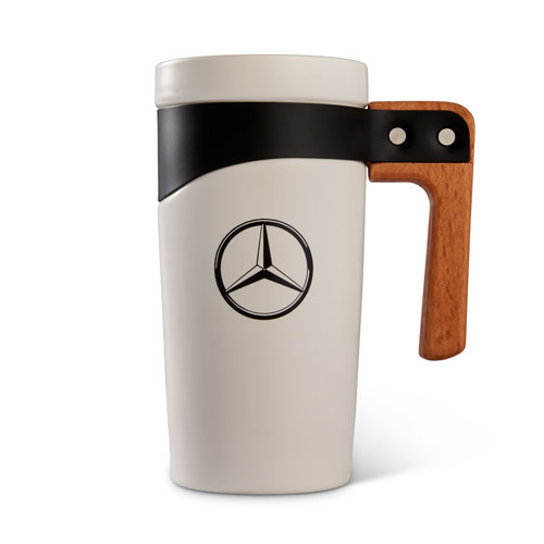 16oz Ceramic Travel Mug with Wood Handle