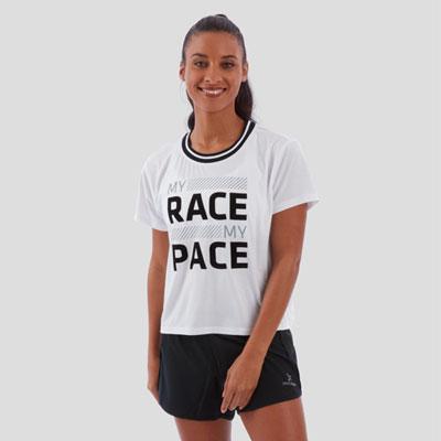 MY RACE RIBBED COLLAR STRIDE TEE