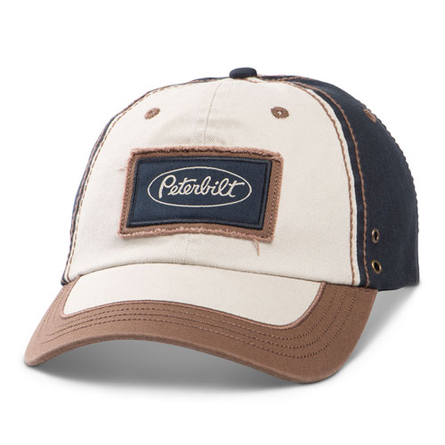 Distressed Navy Brown Twill Patch Unstructured Hat
