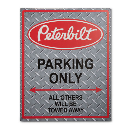 Red Metal Sign with Custom Peterbilt Art