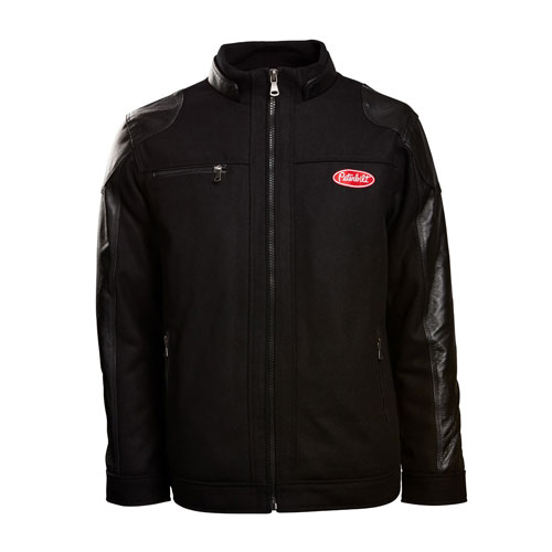 Black Wool and Leather Driving Jacket with Red Logo