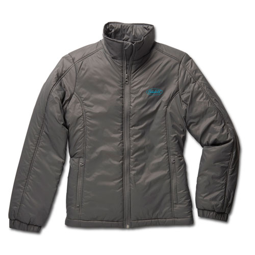Ladies' Graphite Water-Resistant Polyfill Jacket with Teal Logo