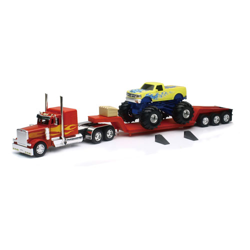 1:32 Red Peterbilt Lowboy Toy Truck