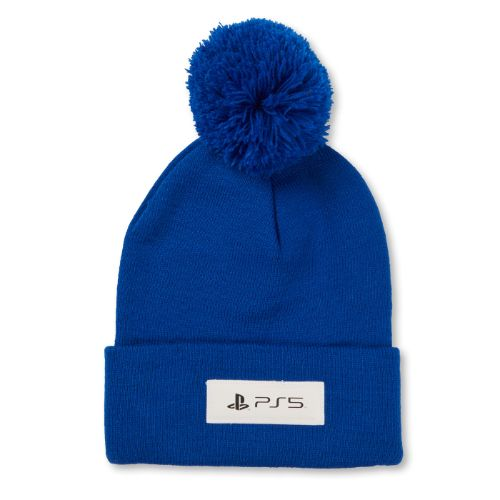 Faux Leather PS5™ logo Cuffed Pom Knit Beanie