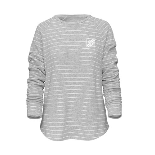 Ladies Seaside Striped Long-Sleeved Terry Crew