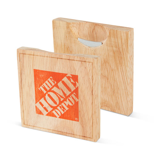 Wood Coaster with Bottle Opener (Set of 2)