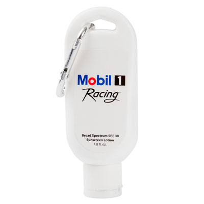 Mobil 1 Racing™ broad spectrum SPF 30 sunscreen with carabiner