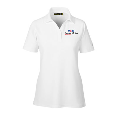 Ladies Mobil Super Moto™ Under Armour® white polo