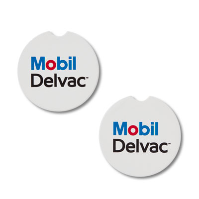 Mobil Delvac™ absorbent stone car coasters (2 pack)