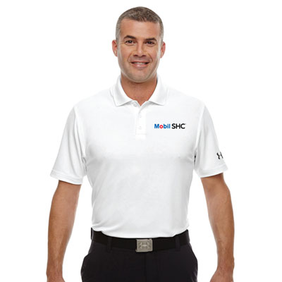 Men's Mobil SHC™ Under Armour® white polo