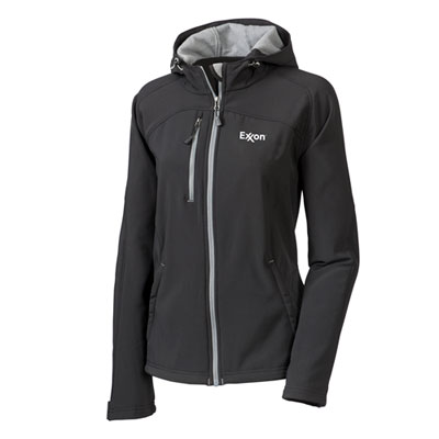 Ladies' Exxon™ hooded black jacket