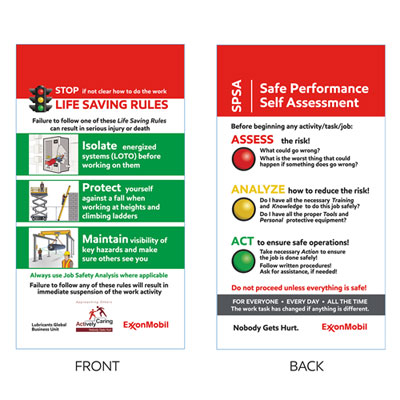 SPSA/LSR safety card