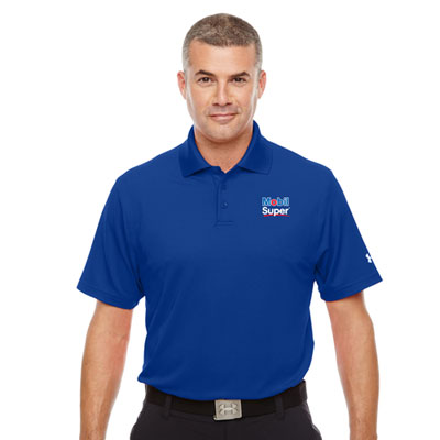 Men's Mobil Super™ Under Armour® royal blue polo
