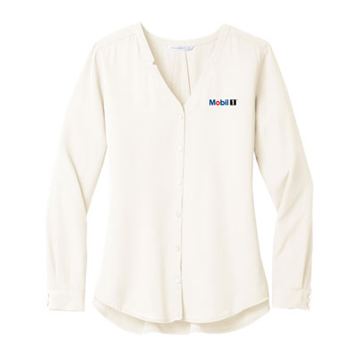 Mobil 1™ Ladies' Port Authority Notch-Neck Long-Sleeve Blouse