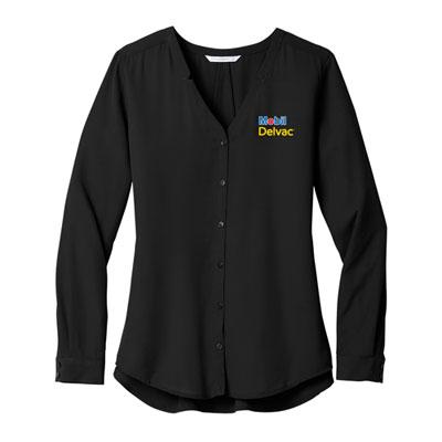 Mobil Delvac™ Ladies' Port Authority Notch-Neck Long-Sleeve Blouse