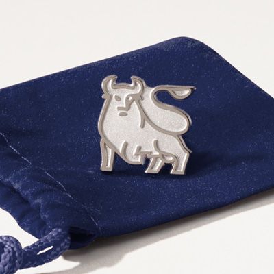 Bull Sterling Silver Lapel Pin