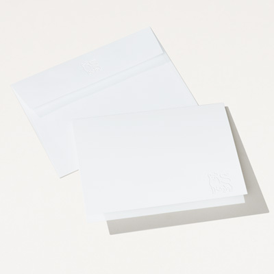 Bull Embossed Folded Note Card - 25 Pack