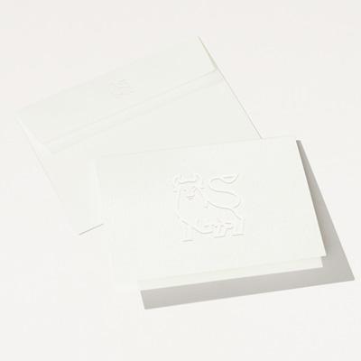 Bull Elegant Embossed Folded Note Card - 25 Pack
