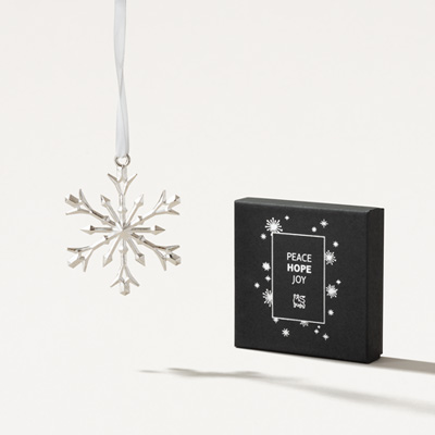 Bull Pewter Snowflake Ornament