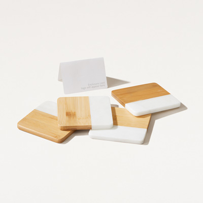 Marble and Bamboo Coaster Set of 4