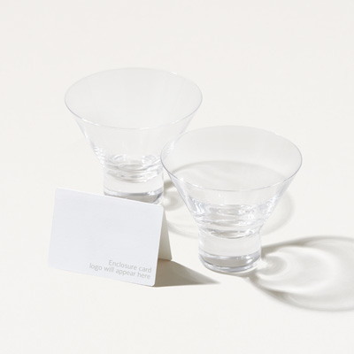 7.5-Ounce Crystal Stemless Martini Glasses - Set of 2