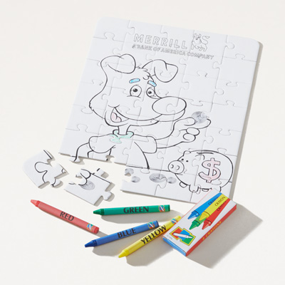 Merrill 35-Piece Coloring Puzzle with Crayons