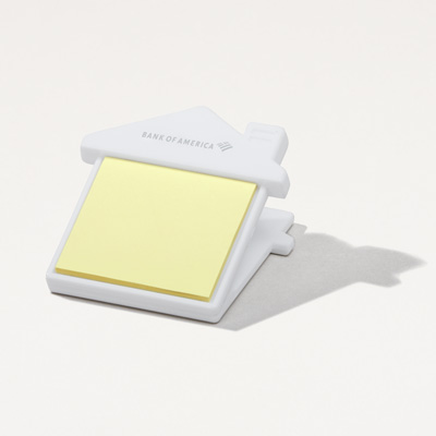 Bank of America House Shaped Sticky Notes Clip