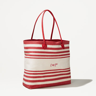 (RED) Striped Straw Tote