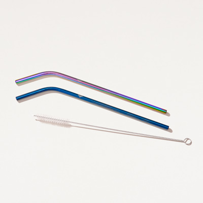 Flagscape Stainless Steel Bent Straws  2 Pack