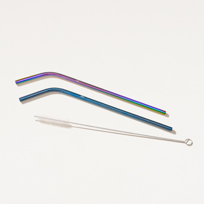 Bull Stainless Steel Bent Straws  2 Pack