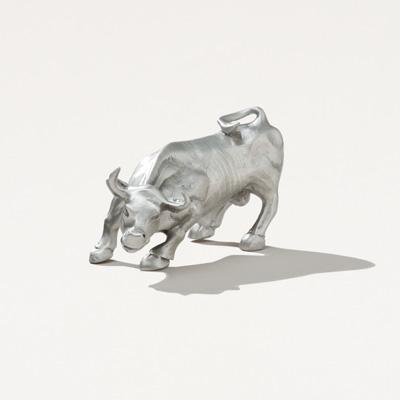Pewter Bull Statue