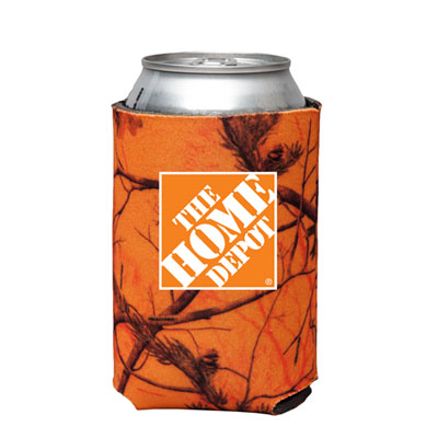 Orange Camo Can Cooler